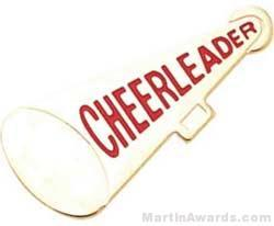 "1 1/4"" Etched Soft Enamel Cheerleader Megaphone Chenille Letter Pin"