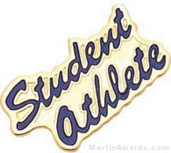 """15/16"""" Etched Soft Enamel Student Athlete Chenille Letter Pin"""