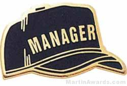 """1"""" Etched Manager Chenille Letter Pin"""