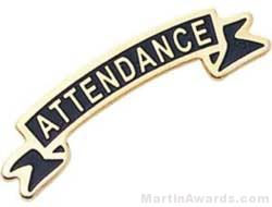 """1 3/8"""" Etched Soft Enamel Attendance Chenille Letter Pin"""