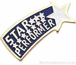 """3/4"""" Etched Soft Enamel Star Performer Chenille Letter Pin"""