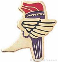 """1"""" Etched Soft Enamel Winged Foot Torch Chenille Letter Pin"""