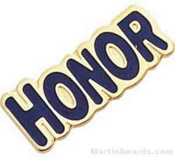 """1"""" Etched Soft Enamel Honor Chenille Letter Pin"""