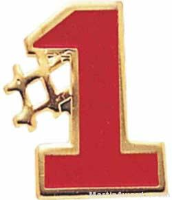 """5/8"""" Etched Soft Enamel Red #1 Chenille Letter Pin"""