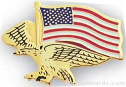 "7/8"" Etched Soft Enamel Eagle Flag Chenille Letter Pin"