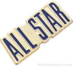 """3/4"""" Etched Soft Enamel All Stars Chenille Letter Pin"""