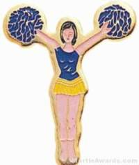 "7/8"" Etched Soft Enamel Cheerleader Chenille Letter Pin"