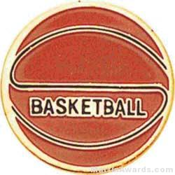 """7/8"""" Etched Soft Enamel Basketball Chenille Letter Pin"""