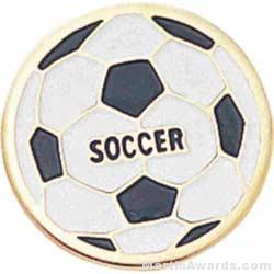 3/4″ Etched Soft Enamel Soccer Chenille Letter Pin 1