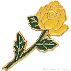 7/8″ Rose Shaped Yellow Enameled Custom Lapel Pins 1