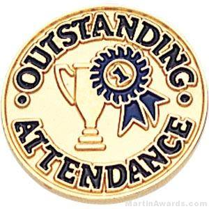 Outstanding Attendance Round Enamel Lapel Pins
