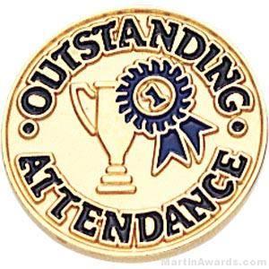 Outstanding Attendance Round Enamel Lapel Pins
