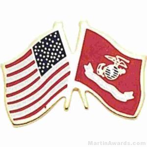 "1"" USMC-American Flag Pins"