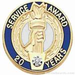 "3/4"" Service Recognition Award Pins 15 Years with Diamond"