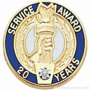 """3/4"""" Service Recognition Award Pins 10 Years with Diamond"""