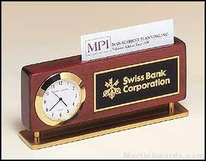 Rosewood Combination Clock and Business Card Holder