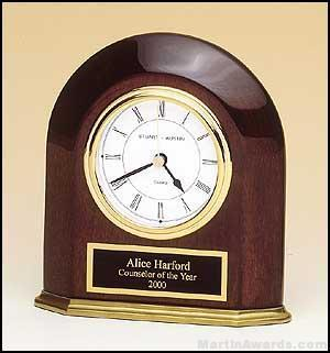 Clock Award - Rosewood Piano-Finish Arched Table Clock with Solid Brass Base.